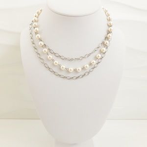 Multi-Strand Faux Pearl and Silver Chain Necklace